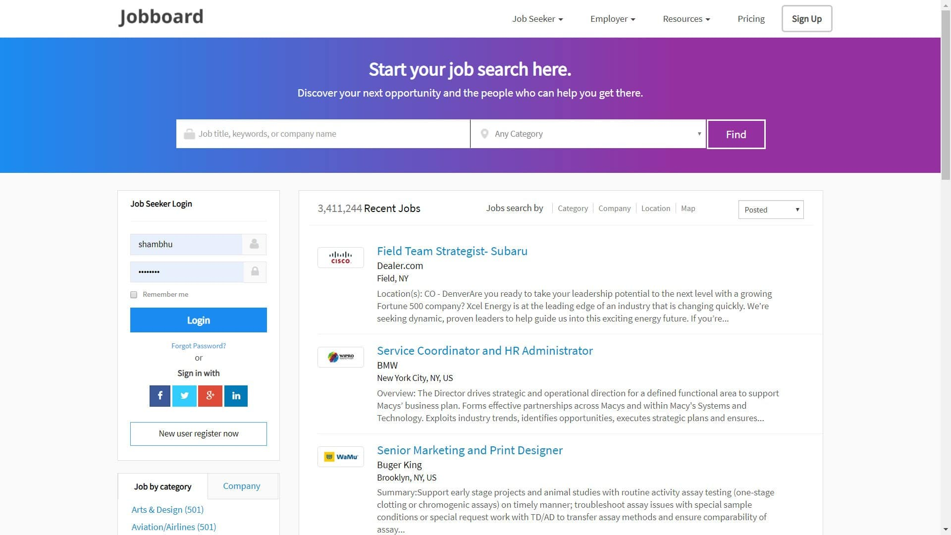 Job Board Employment Website