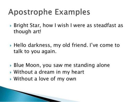 Apostrophe Figurative Language