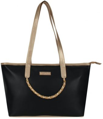 Black And Brown Trimmed Tote Bag