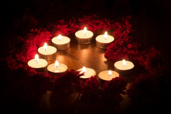 Bright Red Light Candles Magic