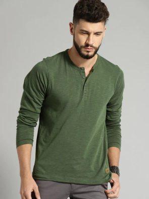 Henley Collar T Shirt